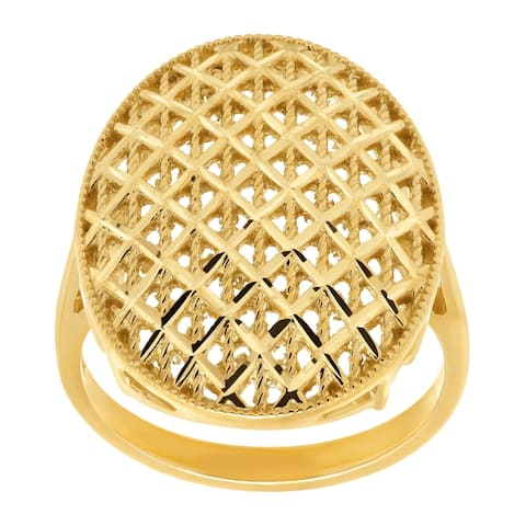Eternity Gold Beaded Checkerboard Oval Ring in 10K Gold - Yellow