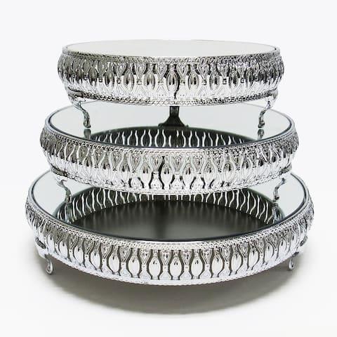 Silver Luxury Mirror Top Cake Stand Dessert Display