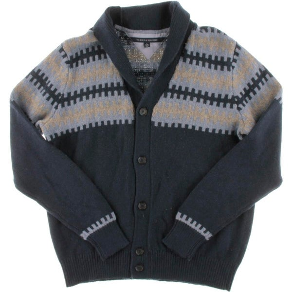 Tommy Hilfiger Mens Cardigan Sweater Shawl-Collar Fair Isle - Free ...