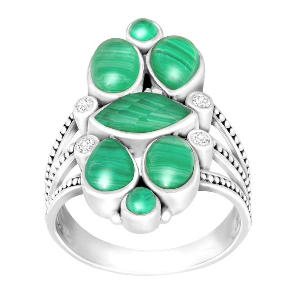 Sajen Malachite Doublet Ring with White Topaz in Sterling Silver - Green
