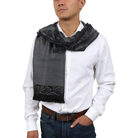 Roberto Cavalli ESZ066 05001 Grey Wool Blend Signature Mens Scarf - 70