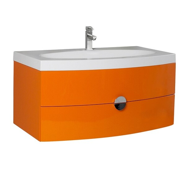 "Fresca FCB5092-I Energia 36"" Wall Mounted / Floating Vanity Set with Engineered Wood Cabinet and Acrylic Integrated Sink"
