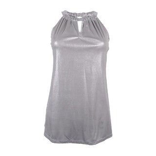 INC International Concepts Women's Metallic Keyhole Halter Top - Silver