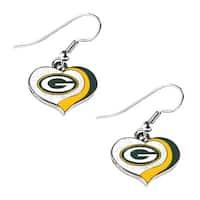 Green Bay Packers NFL Glitter Heart Earring Swirl Charm Set