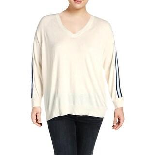 Lauren Ralph Lauren Womens Plus Pullover Sweater Contrast Trim Open-Shoulder - 2X
