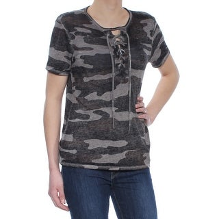 LUCKY BRAND Womens Black Lace Up Camo Short Sleeve Jewel Neck Top  Size: XS