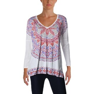 Lucky Brand Womens T-Shirt V-Neck Printed