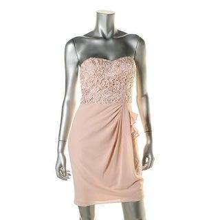 Aidan Mattox Womens Lace Overlay Strapless Cocktail Dress