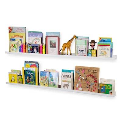 """Wallniture Denver 60"""" Floating Shelves for Kids Room Decor, White Bookshelf (Set of 2)"""