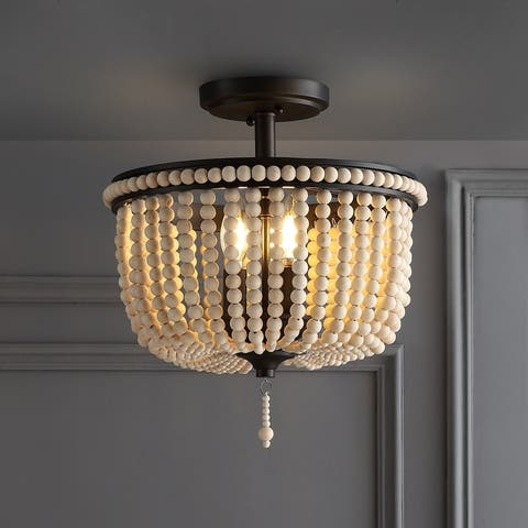 Allie Wood Beaded/Metal LED Flush Mount, Black/Taupe by JONATHAN Y