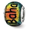Sterling Silver Reflections Bahama Orange Dichroic Glass Bead (4mm Diameter Hole) - Thumbnail 0