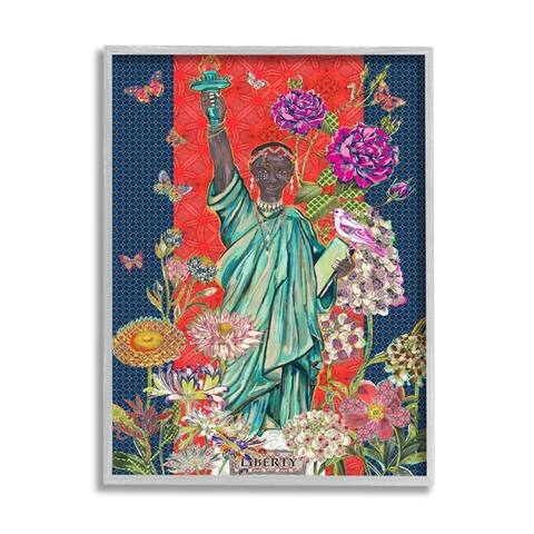 Stupell Industries Inspirational Male Liberty Colorful Florals Geometric Pattern Framed Wall Art