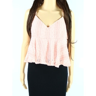 TopShop NEW Light Pink Womens Size 12 V-Neck Lace Peplum Cami Top