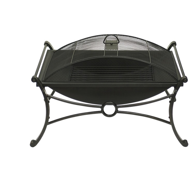 "19"" Rectangular Design Bronze & Black Fire Pit with Spark Screen Guard - Thumbnail 0"