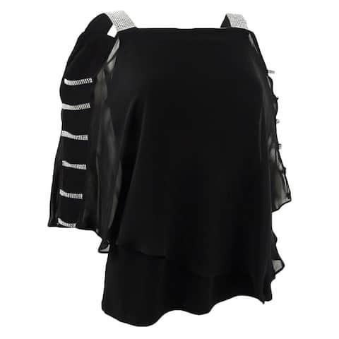 MSK Women's Petite Size Embellished Chiffon Top