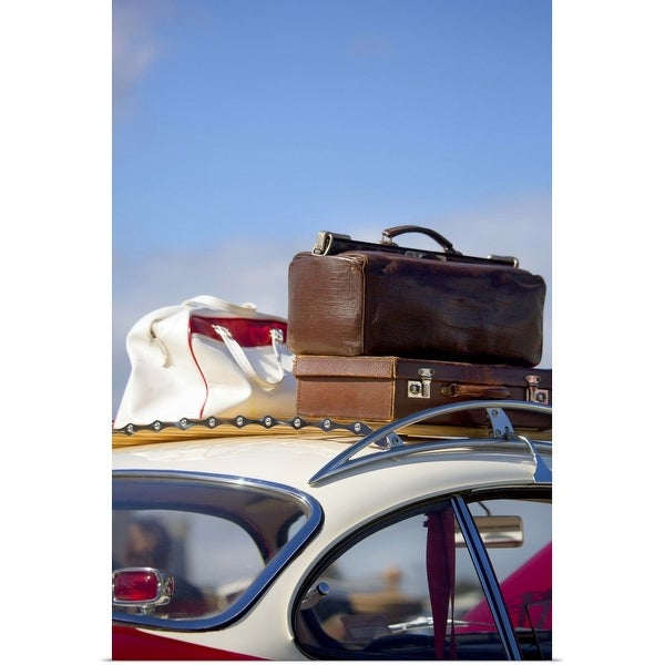 """""""Vintage luggage on roof of an old car"""" Poster Print"""