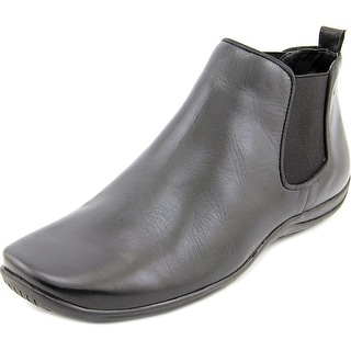 Walking Cradles Ante Women Round Toe Leather Black Bootie