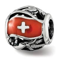 Sterling Silver Reflections Enameled Switzerland Theme Bead (4.5mm Diameter Hole)