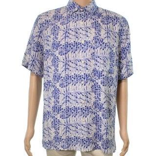 Tasso Elba NEW Cerulean Blue Mens Size 2XL Button Down Silk Shirt