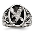 Stainless Steel Polished Enameled Eagle Ring - Sizes 9 - 12 - Thumbnail 0