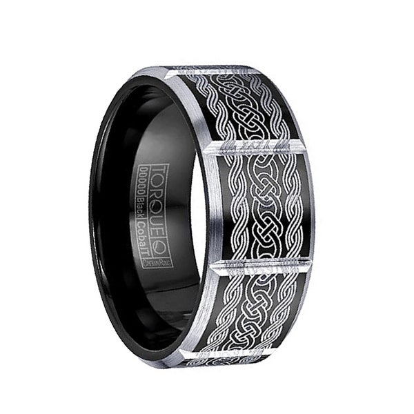 ARTHAS Torque Black Cobalt Wedding Band Polished Laser Celtic Design Beveled Edges with Black Inside by Crown Ring - 9 mm