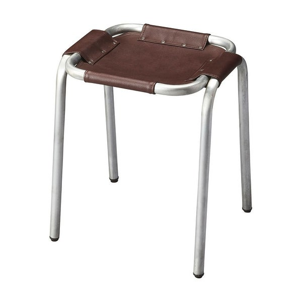 Transitional Industrial Chic Rectangular Canvas Stool in Zink Finish