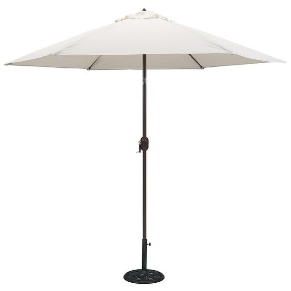 Tropishade 9 Ft Aluminum Bronze Patio Umbrella With Natural Cover On Sale Overstock 6534772