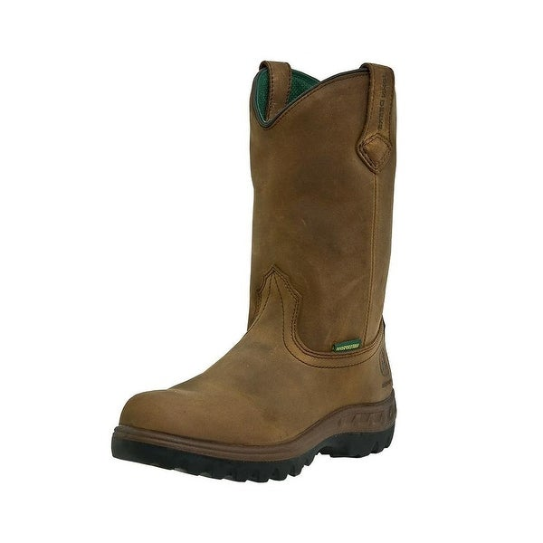 John Deere Work Boots Mens Waterproof Steel Toe Wellington Tan