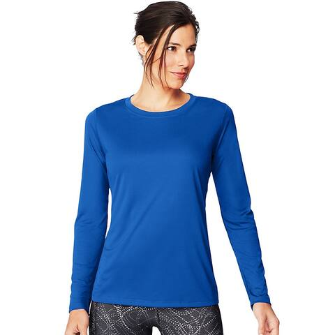 Hanes Sport Cool DRI® Women's Performance Long-Sleeve T-Shirt - Color - Awesome Blue - Size - L