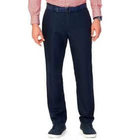 Nautica Men's Classic-Fit Linen Cotton Pants Navy, 36x32 - Blue