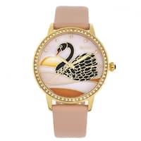 Bertha Grace MOP Leather-Band Watch - Apricot