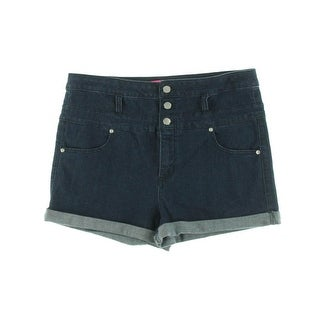 Tinseltown Womens Juniors High Waist Cuffed Casual Shorts