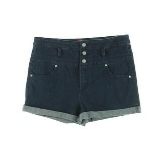 Tinseltown Womens Juniors Casual Shorts High Waist Cuffed