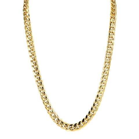 Mcs Jewelry Inc 14 KARAT YELLOW GOLD MIAMI CUBAN CURB LINK HOLLOW CHAIN NECKLACE 11MM