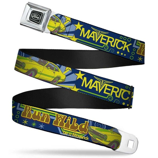 Ford Emblem Vintage Ford Maverick Run Wild Be A Maverick Blues Yellows Seatbelt Belt