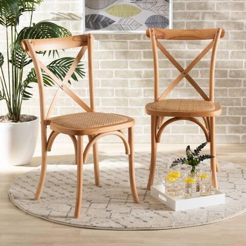 Tartan Mid-Century Woven Rattan Dining Chair Set (2PC)-Natural Brown