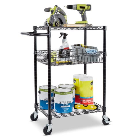Seville Classics 3-Tier Steel Wire Multipurpose Basket Shelf Adjustable Storage Utility Cart, Black