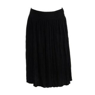 Calvin Klein Womens Fan Pleat Knee-Length Broomstick Skirt - M