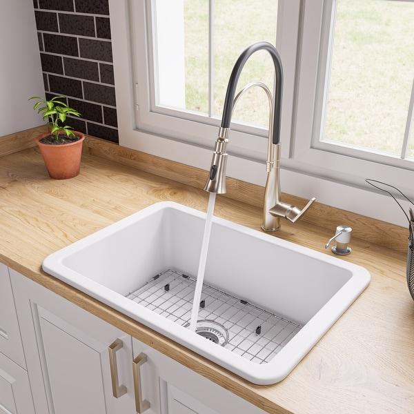 "White 27"" x 18"" Fireclay Undermount / Drop In Firelcay Kitchen Sink. Opens flyout."