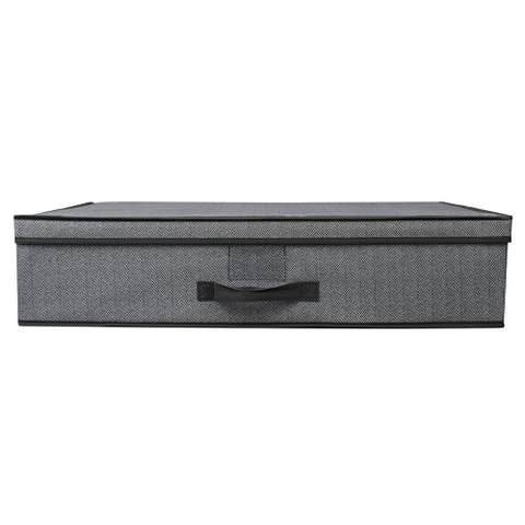 Home Basics Grey Non-woven Under the Bed Storage Box with Label Window - 16'' x 28'' x 6'' / 40 x 71 x 15.24 cm.