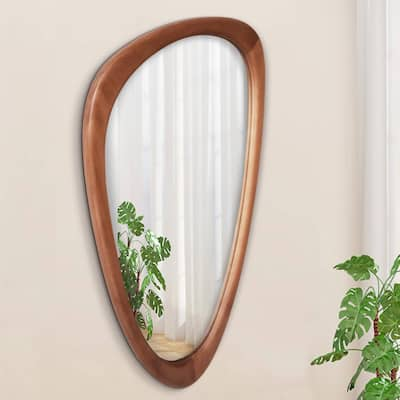 WallBeyond Hanging Asymmetrical Cobblestone Shaped Mirror - 30 inch height