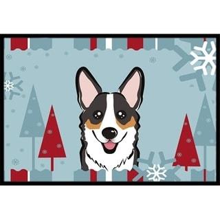 Carolines Treasures BB1751JMAT Winter Holiday Tricolor Corgi Indoor & Outdoor Mat 24 x 36 in.