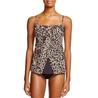 Miraclesuit Womens Tankini Top 8 Purr-Fection Printed Flyaway Brown Swimsuit