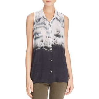 Red Haute Womens Button-Down Top Sleeveless Tie-Dye