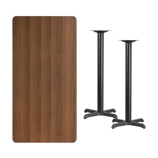 Shop Offex 30u0027u0027 X 60u0027u0027 Rectangular Walnut Laminate Table Top With 22u0027u0027 X  22u0027u0027 Bar Height Table Bases   Free Shipping Today   Overstock   17969804
