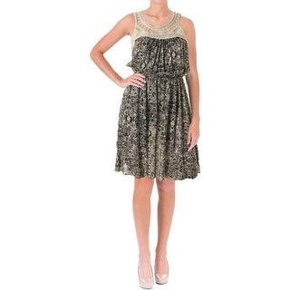 Aqua Womens Crochet Front Sleeveless Casual Dress
