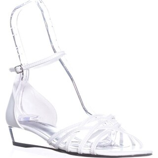 Easy Street Tarrah Ankle Strap Wedge Sandals, White/White Patent