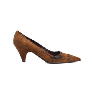 Prada Women's Brown Suede Kitten Heel Tie On Sides Pumps