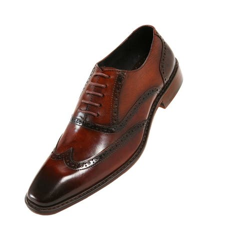 Asher Green Mens Leather Burnished Oxford Wingtip, Lace-Up Style AG265