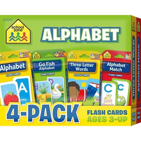 (2 Pk) Alphabet Flash Cards 4 Per Pk